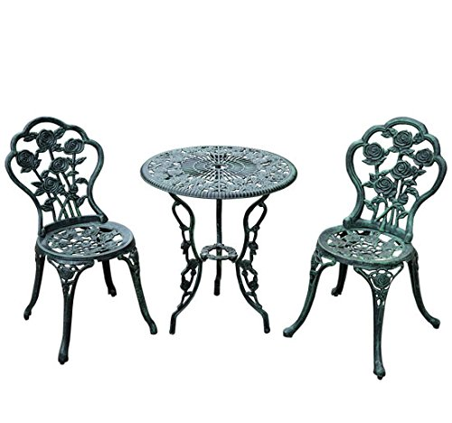 Outdoor Patio 3pc Bistro Set Garden Chair & Table Furniture Rose Antique Green + FREE E-Book by Eight24hours