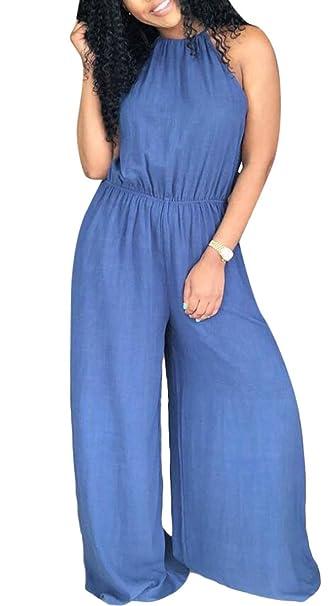 9fd96d249f0 Domple Women s Sexy Sleeveless Palazzo Pants Wide Leg Denim Club Romper  Jumpsuits Blue XS