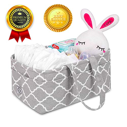 House of Angels Diaper Caddy, Nursery Organizer Baby Basket Crib Accessories, Essential Registry for Baby Shower Must Haves