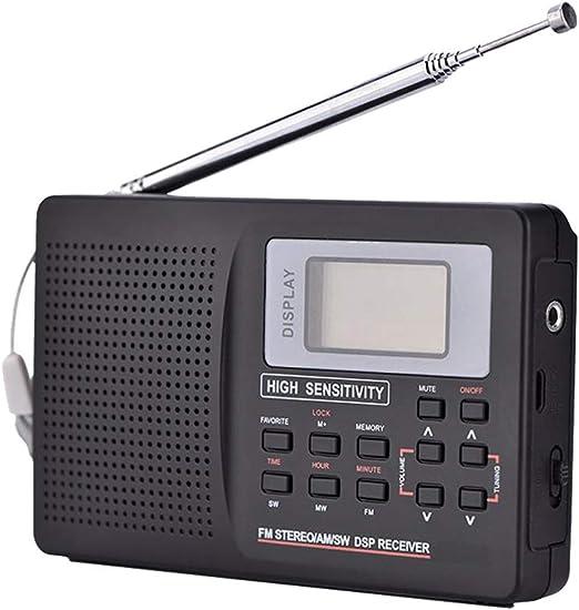C- Mini Radio FM Receptor de Radio portátil Soporte FM/Am/SW/LW/TV Sonido Receptor de Radio de frecuencia Completa Soporte Despertador para Ancianos con Auriculares: Amazon.es: Hogar