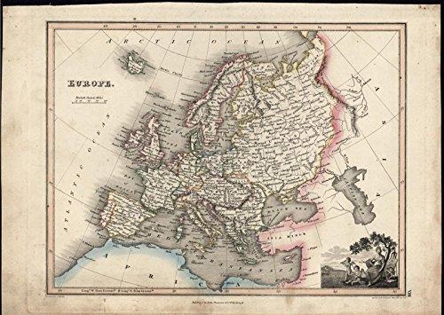 Europe 1822 w/ cherubs & seated Goddess fine old vintage antique map ()