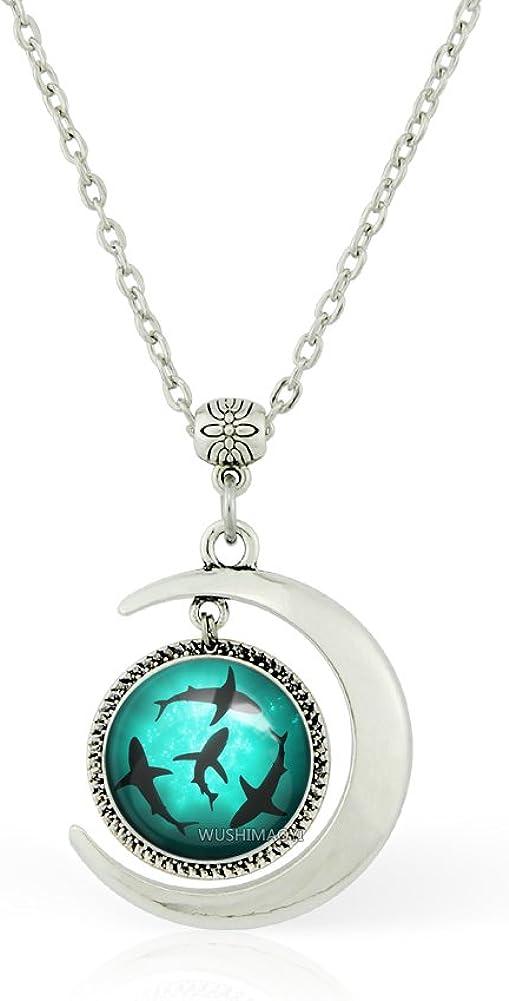 WUSHIMAOYI Moon Pendant Circling Sharks Necklace Circling Sharks Pendants Personalized Jewelry Gifts