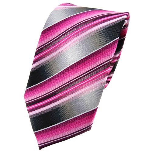 TigerTie cravate rosé pink magenta anthracite argent gris rayé - Tie
