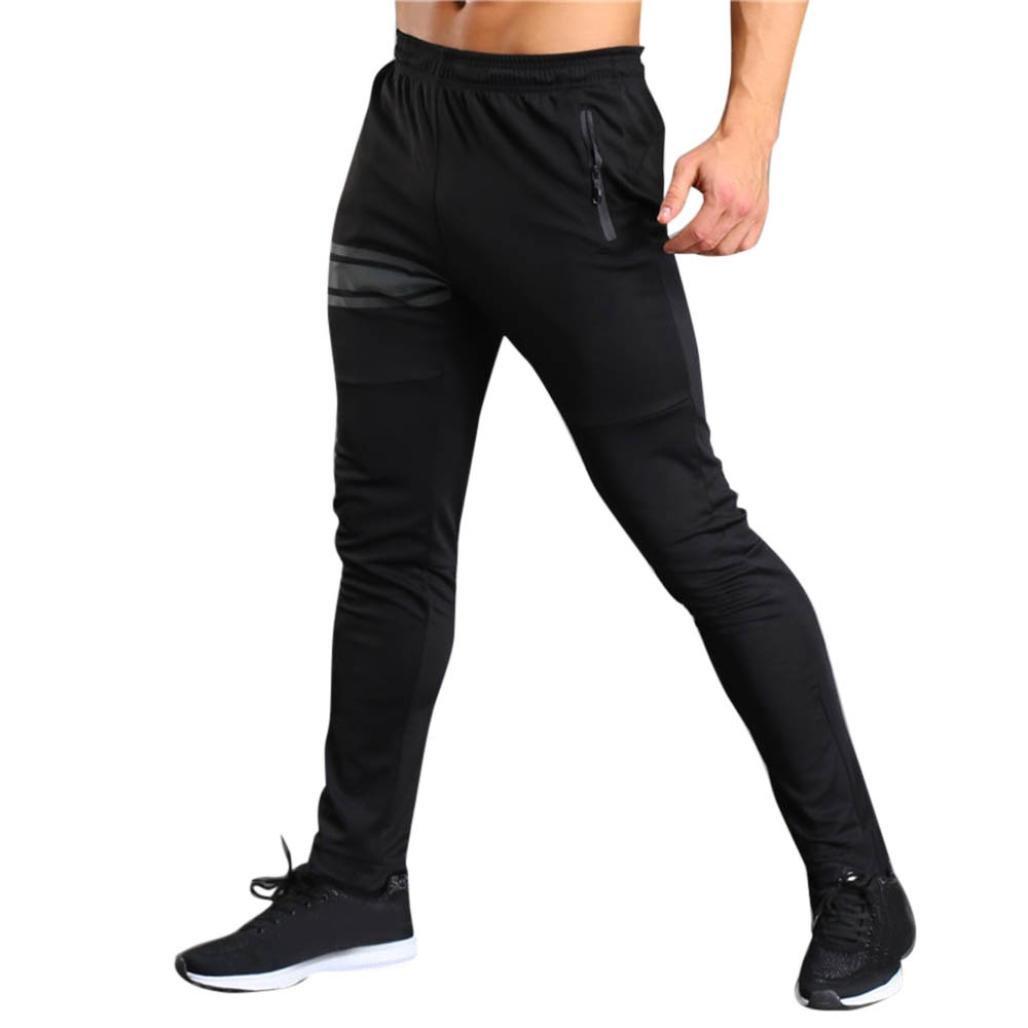 Realdo Mens Sports Slim Trousers, Casual Pants Gym Long Elastic Waist Fit Running Jogger Sweatpants(Black,XX-Large)