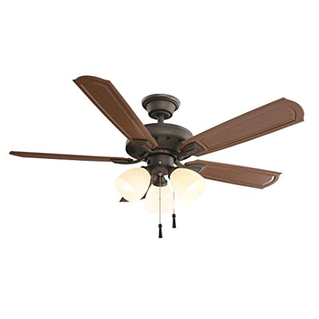 Hampton Bay Tucson 48 In. Oil Rubbed Bronze Indoor/Outdoor Ceiling Fan With  Shatter