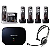 Panasonic KX-TG7875S Link2Cell Bluetooth Phone w/ 5-Handset, Headset & Extender