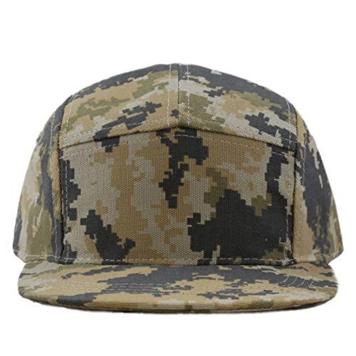 - The Hat Depot Cotton Twill 5 Panel Flat Brim Genuine Leather Brass Biker Board Cap (Camo4)