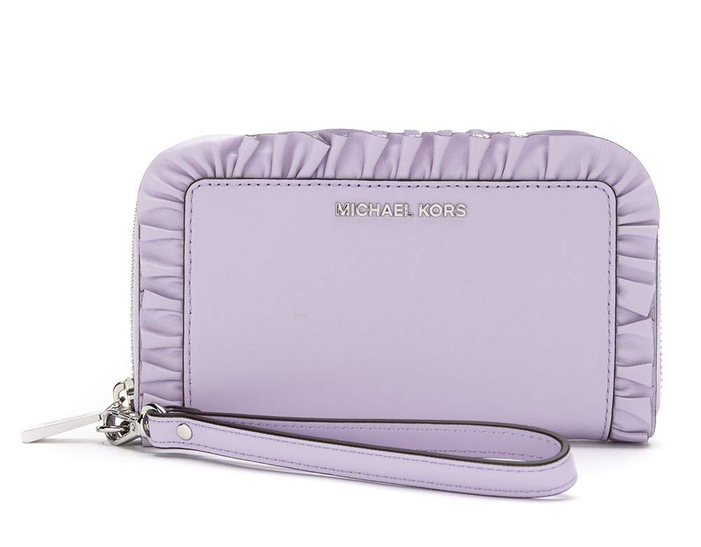 Michael Kors Large Flat Multifunctional Ruffled Leather Smartphone Wristlet Zip Around Leather Wallet (Light Quartz)