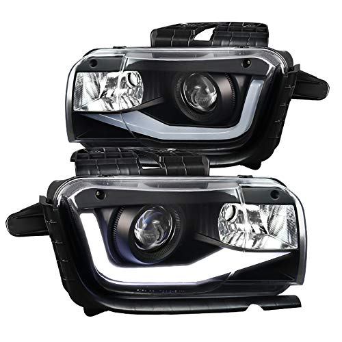 (Black Chevy Camaro Replacement LED Tube Projector Headlights Left+Right)