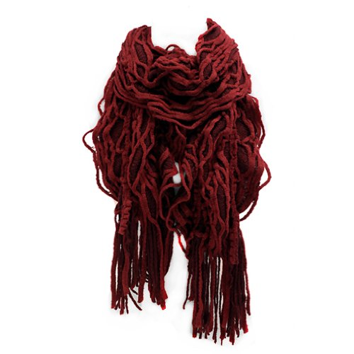 Two Tone Ruffle (ACCESSORIESFOREVER Women Winter Cold Double Layered Two Tone Ruffle Fringed Cold Weather Fashion Scarf)