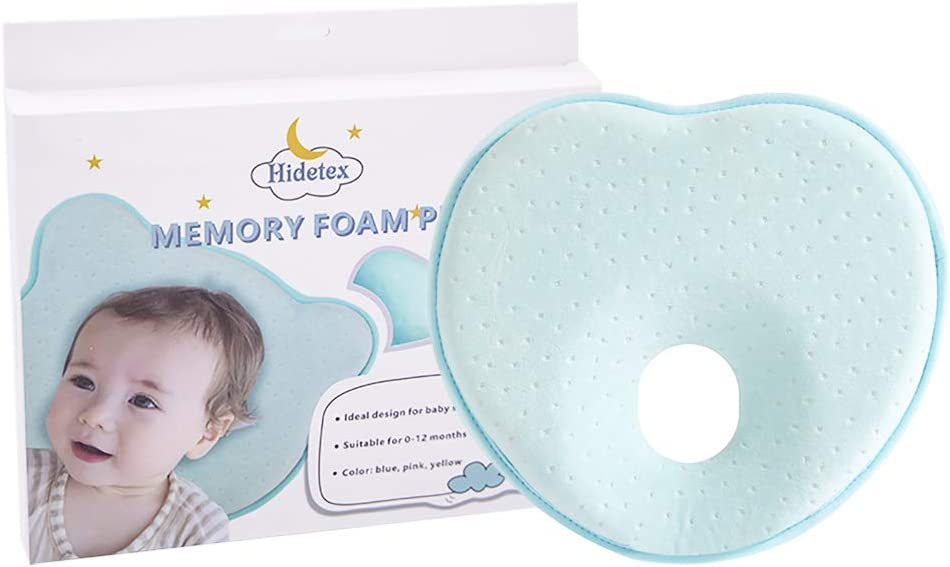 Hidetex Baby Pillow - Preventing Flat Head Syndrome (Plagiocephaly) for Your Newborn Baby,Made of Memory Foam Head- Shaping Pillow and Neck Support (0-12 Months)(Heart Blue)