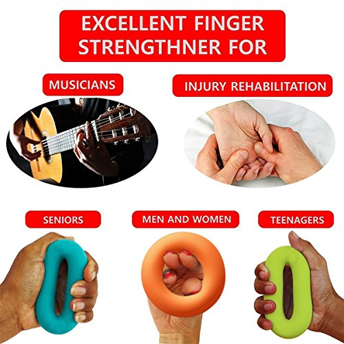 Hand Exerciser Stress Relief Squeeze Balls Grip Rings Finger Strengthener Fitness Training (30lb, 40lb, 50lb) for Muscle Built, Physical Therapy, Office Stress Relief