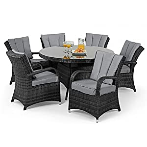 tyler rattan garden furniture grey 6 seater round table set - Rattan Garden Furniture 6 Seater