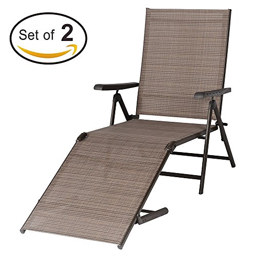 Cheap BaoChen Outdoor Chaise Lounge Chair – Folding Recliner Patio Pool Beach Sunny Adjustable Lounge Chair with Armrest, 2 Packs