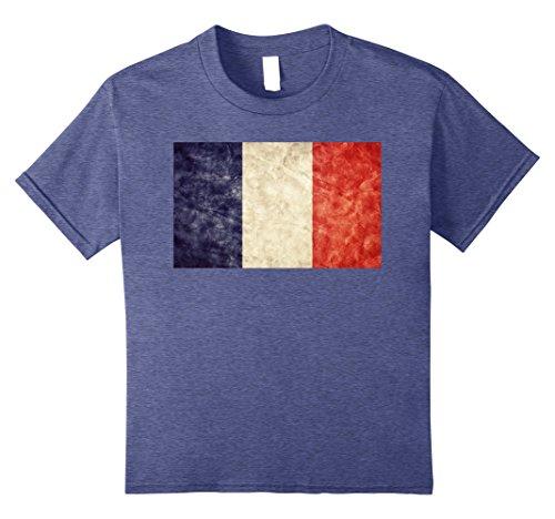 France Flag T-shirt (Kids Unique Trendy & Vintage France Flag T-Shirt & Gift 10 Heather Blue)