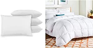 BioPEDIC 4-Pack Bed Pillows with Built-in Ultra-Fresh Anti-Odor Technology, Standard Size, White & Linenspa All-Season White Down Alternative Quilted Comforter - Corner Duvet Tabs - Queen