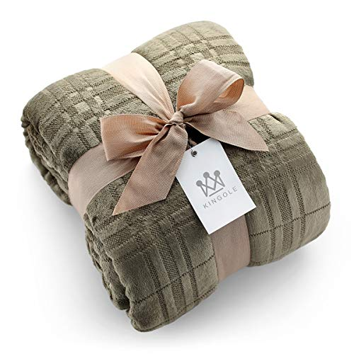 Kingole Flannel Fleece Microfiber Throw Blanket, Luxury Olive Grid Pattern Queen Size Lightweight Cozy Couch Bed Super Soft and Warm Plush Solid Color 350GSM (90