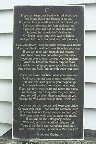 Funlaugh Rudyard Kipling If Poem Man Boy Son Grandson Father Grandfather Carved Distressed Rustic Carved Bedroom Wood Sign with Sayings Home Decor Plaque Sign