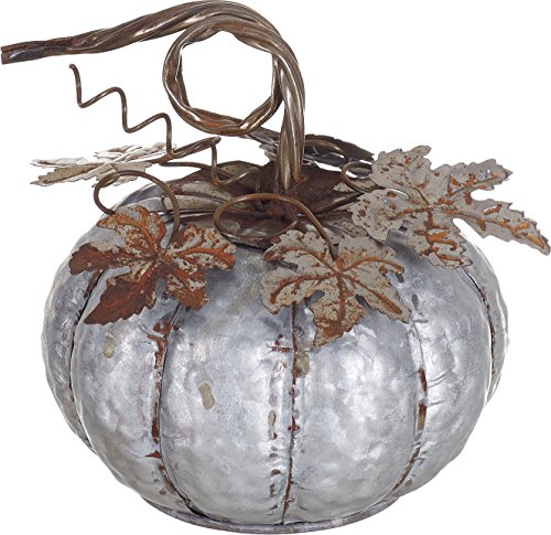 Transpac Small Galvanized Metal Decorative Pumpkin