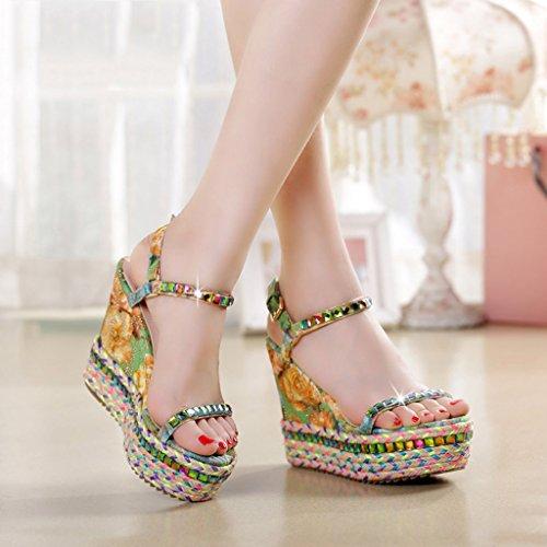 31 KaiGangHome Stroh Color Hang Strass Green Schuhe Fashion cm mit Plattform Sandalen Plattform dicke wasserdichter Sandalen 5 Höhe Schuhe mit Size Plattform 11 rwBqfvrW