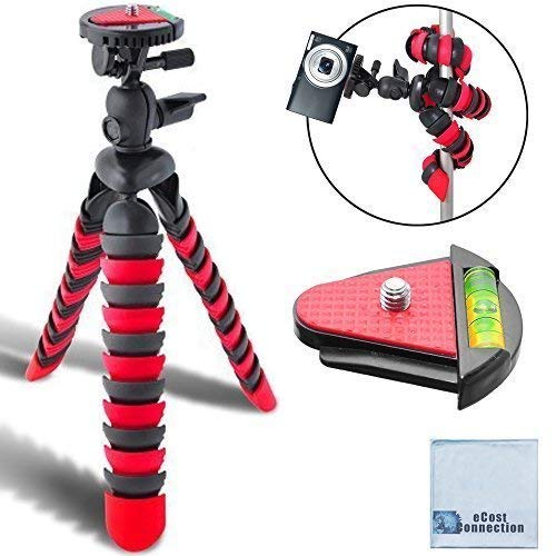 12' Inch Flexible Tripod w/ Flexible Wrappable Disc Legs Red & Black, Quick Release Plate, and Bubble Level + eCostConnection Microfiber Cleaning Cloth 4332049758