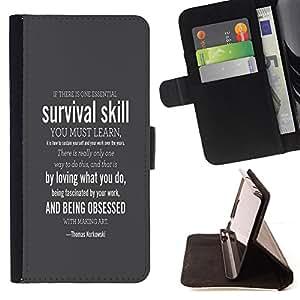 BullDog Case - FOR/Sony Xperia Z3 D6603 / - / SURVIVAL SKILL /- Monedero de cuero de la PU Llevar cubierta de la caja con el ID Credit Card Slots Flip funda de cuer
