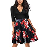 Leedford Women V Neck Half Sleeve A-line Floral Print Casual Mini Dress (S, Red -4)