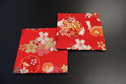 SHINSENDO KIMONO COASTER Japanese traditional fabrics Kinran 2 sheets set (Pattern name: Usagi)