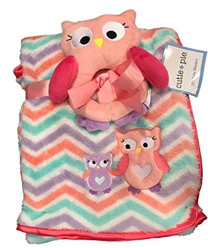 Cutie Pie 2PC. Baby Owl Blanket Set- Cheveron Multi (Pink Cheveron)
