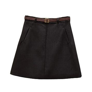 DAHDXD Señoras una línea Mini Faldas Mujeres de Cintura Alta Color ...