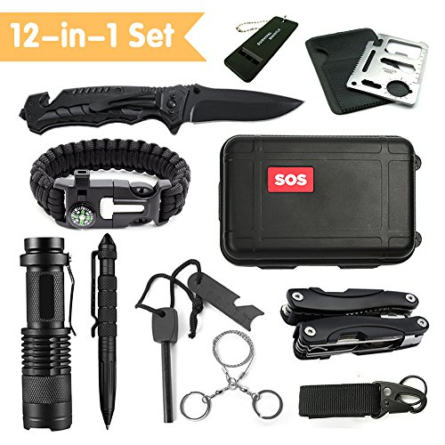 Multi Family 1 Light (JINAGER Emergency Survival Kits 12-in-1, Outdoor Emergency Gear Kits with Folding Knife, Multi Plier, Flashlight, Survival Bracelet, Tactical Pen, for Traveling/Hiking/Biking/Climbing/Hunting)