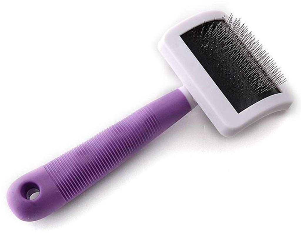 SummarLee Pet Comb Stainless Steel Wire Open Knot Comb Non-Slip Silicone Handle Dog Cat Comb Purple Color Green 2010.56.5cm,Purple