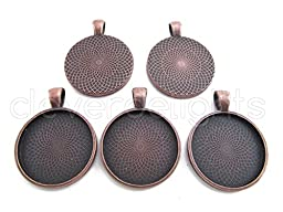 5 CleverDelights Round Pendant Trays - Antique Copper Color - 25mm 1\