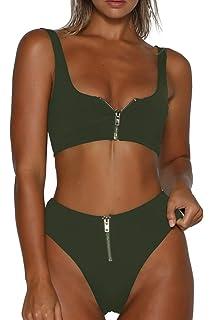 20a4efe1a08 VNOOK Women's Zipper Front High Waisted High Cut Two Piece Bikini Sets  Swimsuit
