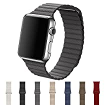 CHC Apple Watch Band 38mm Leather Loop with Adjustable Magnetic Closure for Apple Watch Series 1 Series 2 ( Gray )