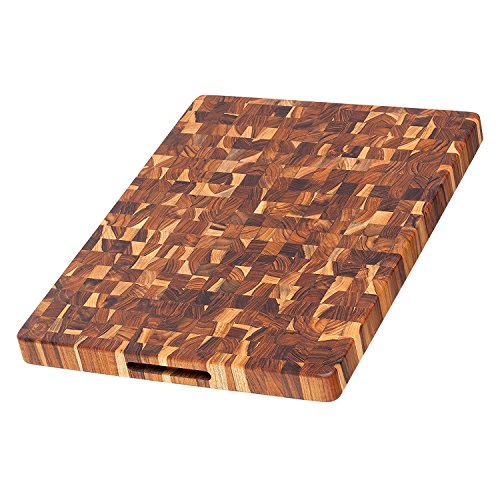 Teak Cutting Board - Rectangle Butcher Block With Hand Grip ( 20 x 15 x 1.5 in.) - By ()