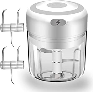 Electric Mini Garlic Chopper, Food Slicer And Chopper, Portable Garlic Blender Mini Chopper Food Processor For Pepper Chili Vegetable Nuts Meat (big 250 ml)
