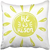 Staroutah Throw Pillow Cover 18''X18'' Decorative Polyester Lettering He Is Risen Done In Yellow Circle With Rays Easter Sunday The Christian Pillowcase Print Two Sides Deco Home