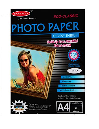 Bambalio BPG -230-20 Classic Glossy Photo Paper, 230Gsm, 40 Sheets A4 Size