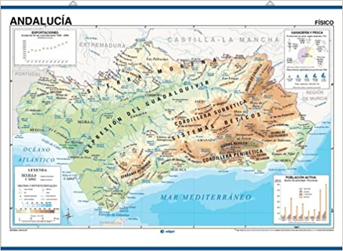 Mapa De Andalucía Físico.Amazon Fr Andalucia Fisico Politico Mapas Murales