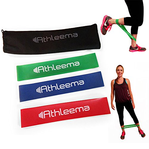 "Athleema Set of 3 Loop Resistance Bands (Light, Medium, Heavy) 10"" X 2"""