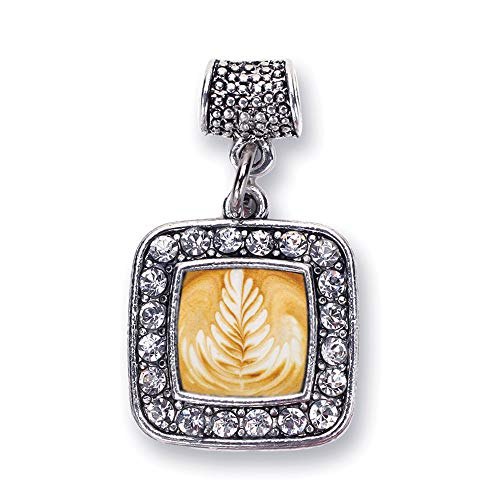Inspired Silver - Latte Memory Charm for Women - Silver Square Charm for Bracelet with Cubic Zirconia - Finish Pendants Latte