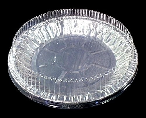 9 inch Aluminum Pie Pan Plate Tin 1 inch Deep w/Clear Plastic Dome Lid Cover