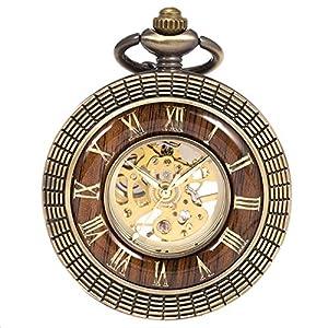 Reloj de Bolsillo con Cadena – mecánico manchda Mens Imitacion Madera Luminoso Skeleton Dial + Caja de Regalo