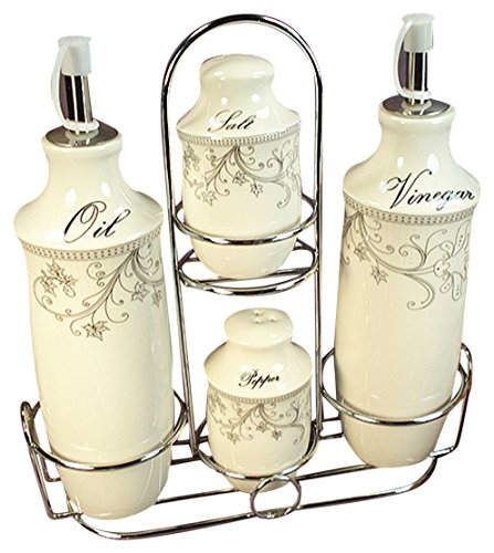 D'Lusso Designs CS35 Damask Set 4 Pc Oil Salt Pepper with Metal Caddy ()