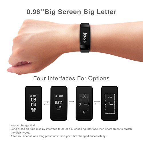 HOMESTEC Blood Pressure Bracelet Fitness Tracker S4 Smart Watch with SPO2H Heart Rate Monitor Sleeping Management Pedometer with OLED Touch Screen for Android iOS (Black)