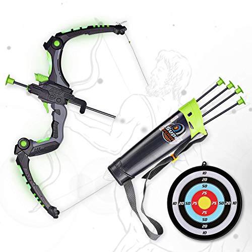 SainSmart Jr. Kids Bow and Arrows, Light Up Archery Set for Kids Outdoor Hunting Game with 5 Durable Suction Cup Arrows, Luminous Bow and Sighting Device