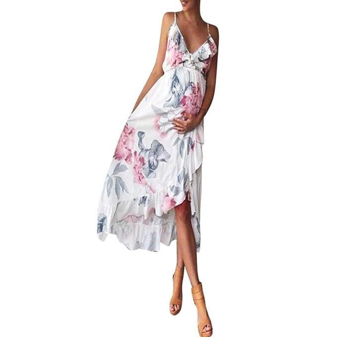 K-youth Vestido Mujer Embarazada Vestidos Premama Fiesta Volantes Florales Boda Mujer Embarazada Vestidos Faldas
