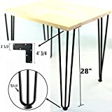 Hairpin Metal Table Legs-Desk Legs-Coffee Table Legs, 28 Inch, 3-rod (Black) 1/2 Inch Thick - (Set of 4)