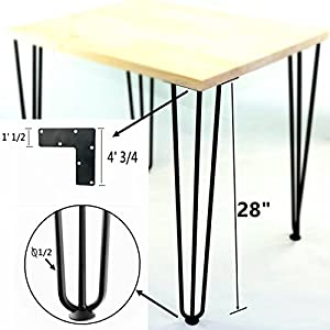 Mrhardware Black Hairpin Metal Table Legs Desk Legs Coffee Table Legs 28 Inch 3 Rod Raw Steel 1 2 Inch Thick Set Of 4
